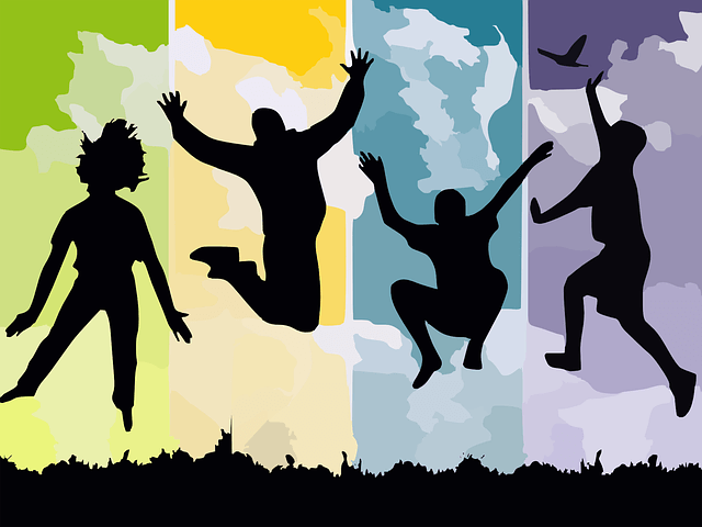 Ten tips for happiness are overcoming insecurity, ego and unrealistic desires that prevent you from achieving success. Photo of a silhouette man jumping with joy and being very happy.