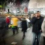 A blurred image of people shopping in New York City